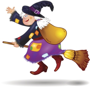 Illustration of a witch on a broom with patched clothing